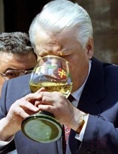 File photo of Russian President Boris Yeltsin driking white wine in Deidesheim