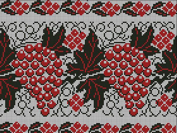 Виноградный орнамент - непременный атрибут казачьего рушника
