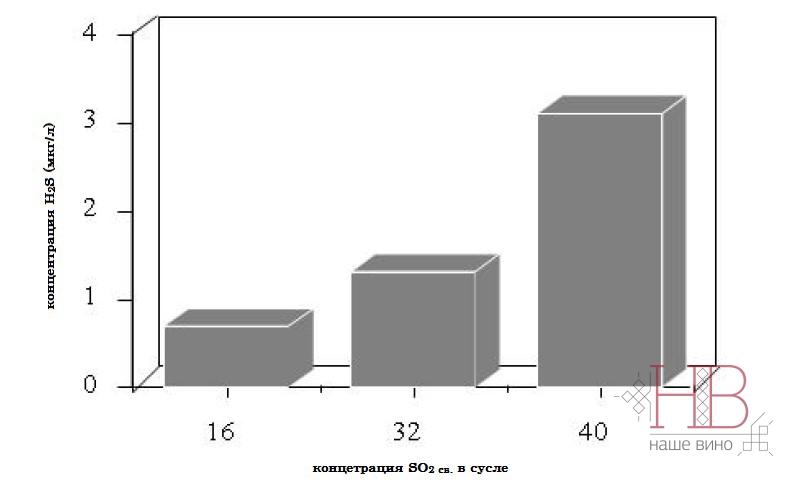Рис. 3 Влияние концентрации SO2 св. на содержание H2S в готовом вине