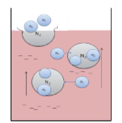 Рис. 1 Принцип обескислораживания с помощью чистого азота.